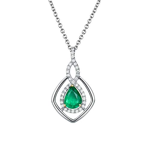 Beydodo Diamond Emerald Necklace for Women, Pendant Necklace Gold 18 carat Infinity Teardrop with Diamond and Emerald 1.16ct - Wedding Party Jewellery