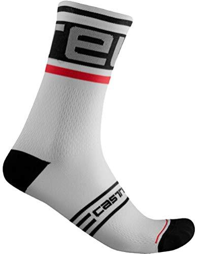 CASTELLI PROLOGO 15 Sock Calcetines, Black/White, L para Hombre