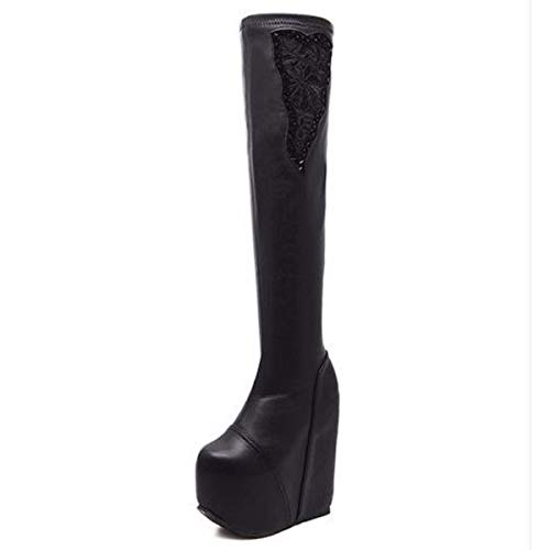 HBDLH Damenschuhe/Sexy Hohe Stiefel Heel 17 cm Hohl Spitzen Wasser Läuft High-Heel Steigung Bei Dicken Hintern Runden Kopf Stiefel 39 Schwarz