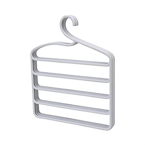 NBEEGFG Perchero antideslizante de 5 capas de almacenamiento de pantalones para adultos con bufanda de seda percha para armario, despensa, acabado de dormitorio (color: 43 x 37 cm), color gris