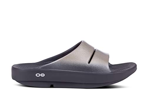 OOFOS - Women's OOahh Luxe - Post Exercise Active Sport Recovery Slide Sandal - Black/Latte - W9