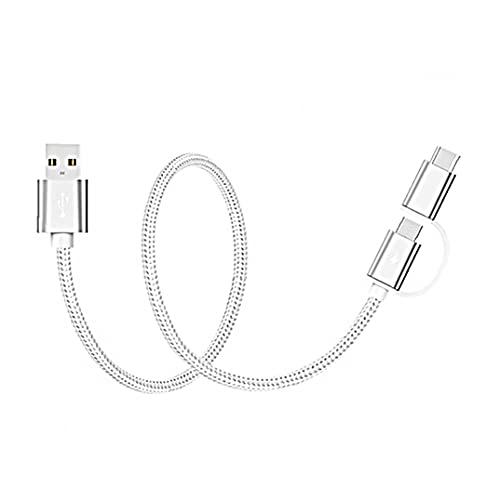 nJiaMe USB Tipo C Cable USB C 2 en 1 Cable [Micro USB y Tipo C] Cargador rápido Cable Tipo A a C Alambre (Plata)