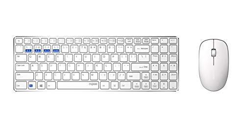 Rapoo 9300M kabelloses Tastatur-Maus-Set, Bluetooth und Wireless (2.4 GHz) via USB, flache Tasten, 1300 DPI Sensor, DE-Layout QWERTZ, weiß