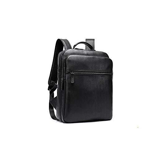 TEYUN - Mochila de piel para hombre, bolsa de ordenador para exteriores (color: negro)