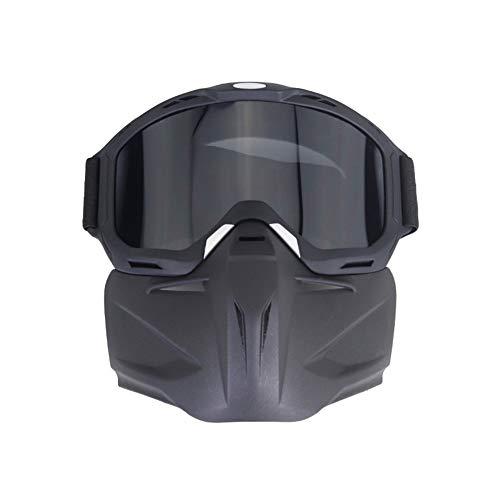 HONCENMAX Máscara de Motocicleta con Gafas - para Cascos Abierto Media Cara de...