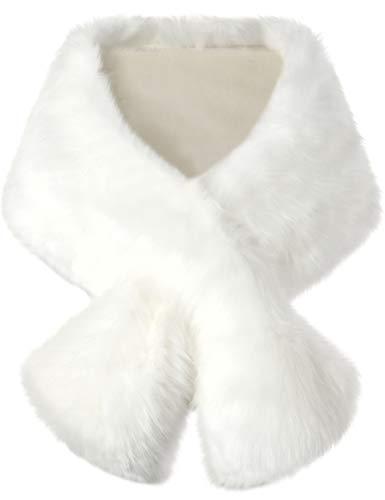 ArtiDeco Damen Kunst Pelz Schal Flauschig Faux Pelz Umschlagtuch Kragen für Wintermantel 1920er Jahre Flapper Accessoires Outfit Warm Zubehör 120 cm lang (Weiß Breit)