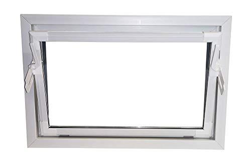 ACO 80cm Nebenraumfenster Kippfenster Isoglasfenster Fenster weiß Kellerfenster, Größe:80 x 50 cm