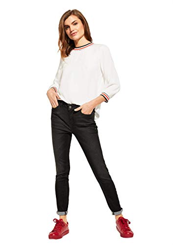 comma Casual Identity Damen Skinny Fit: Dunkle Stretchjeans Black Denim 40