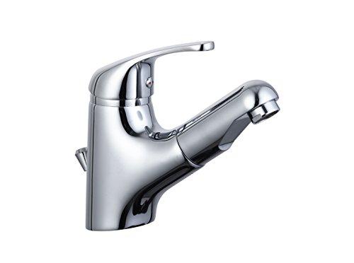 EISL NI075TCO Waschtischarmatur Bad, Wasserhahn mit Haarbrause, Badarmatur mit ausziehbarer Brause zum Haarewaschen, Einhebelmischer herausziehbar mit Ablaufgarnitur, Vico_Chrom