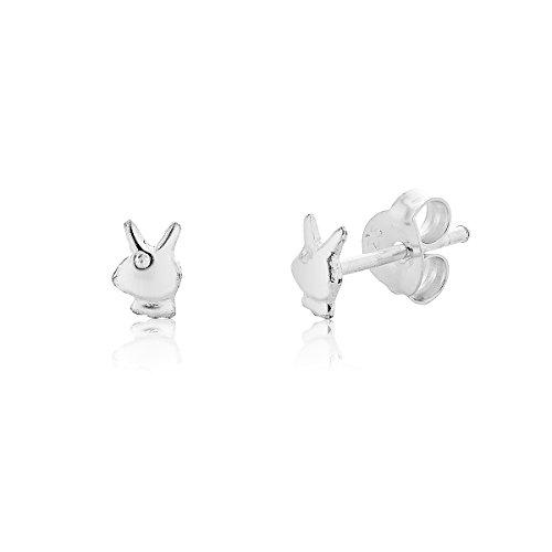 DTP Silver - Pendientes de mujer en forma de Conejito Playboy 4 x 5 mm - Plata de Ley 925