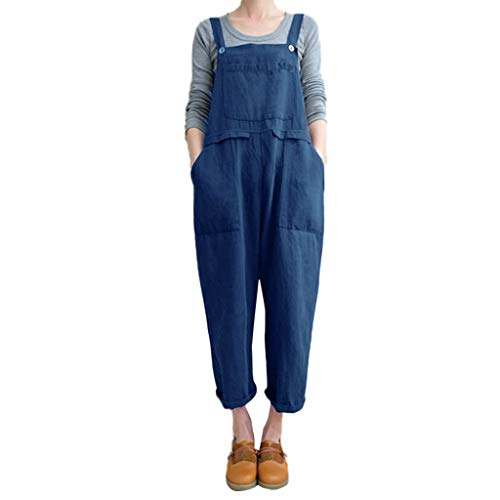 ESAILQ Frau Ärmellose Latzhose Lose Baumwolle Leinen Langer Overall Party-Overall(XX-Large,Blau)
