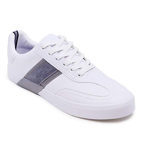 Nautica Townsend Zapatos casuales con cordones para hombre, mocasines clásicos de la parte superior baja, zapatillas de moda, gris (Blanco/Gris), 46 EU