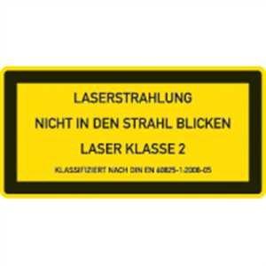 Laserkennzeichnung: LASER KLASSE 2 Text: LASERSTRAHLUNG NICHT IN DEN STRAHL BLICKEN LASER KLASSE 2 KLASSIFIZIERT NACH DIN EN 60825-1:2008-05 2,6 x 5,2cm Folie Packung = 10 Stück