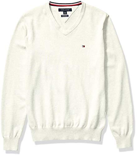 Tommy Hilfiger Men's Cotton V Neck Sweater, Bright White Heather, SM