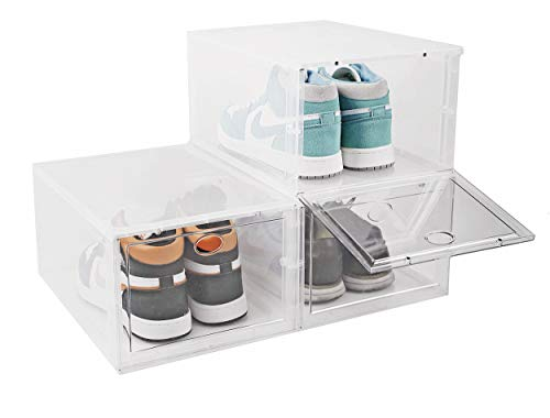 BYFU 3 Pack Shoe Storage Box Stackable, Clear Plastic Shoe Organizer Sneaker Box for Men Women Shoe, Shoe Container (Transparent)