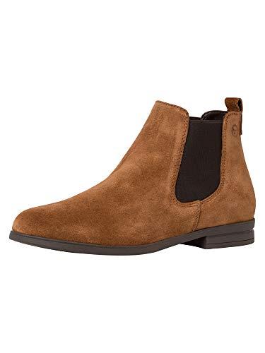 Tamaris Damen Stiefeletten, Frauen Chelsea Boots, geschäftsreise geschäftlich Stiefel halbstiefel Bootie Schlupfstiefel flach,Cognac,40 EU / 6.5 UK