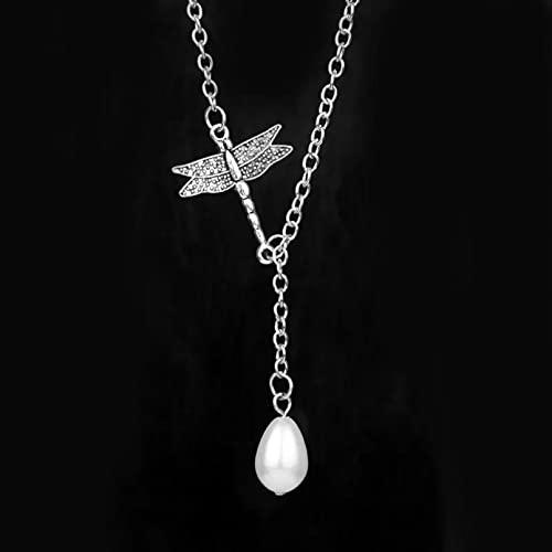 SOTUVO Collar de libélula de película Outlander, Colgante y Collar con Nudo Hueco de Perlas de Cristal para Hombres, Mujeres y niñas, joyería