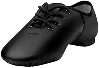 Linodes Leather Lace Up Unisex Jazz Shoe for Women and Men's Dance Shoes Black 4M