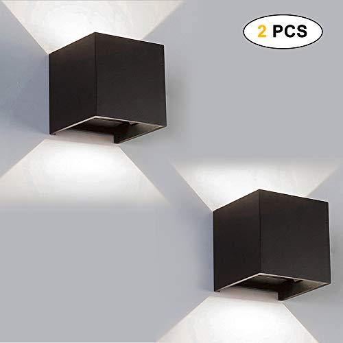 Outdoor wandlamp LED buitenlamp 12W LED wandlamp waterdicht IP65, lamp Murale instelbaar omhoog en omlaag, warmwit 3000K voor huis kamer gang salon (energieklasse A++) 12W