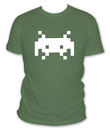 L'abricot blanc - T-Shirt Gamer Space Invaders Logo Pixel Arcade Geek - Manches Courtes - Couleur Kaki - Taille M
