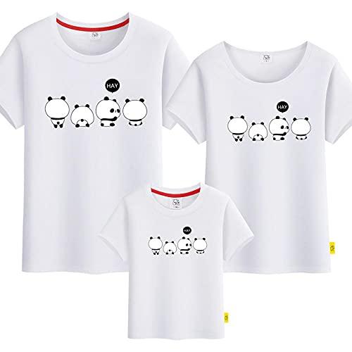 SANDA T-Shirt Bebe,Kindergarten Servicio de Clase Padre-niño Vestido Camiseta Tarjeta Panda Familia Tres Cuatro Hembra Femenina Madre e Hijo Ropa Completa Completa-Blanco_Papá 4XL