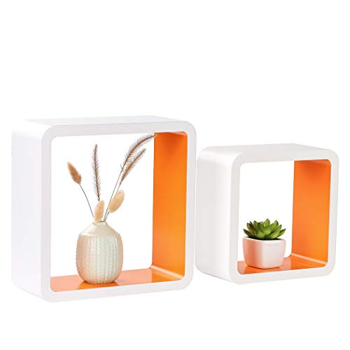 Orange and White Modern Wall Floating Shelves
