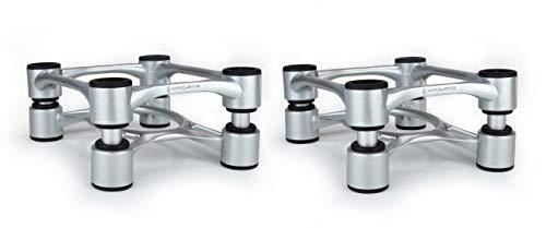 """IsoAcoustics Aperta Isolation Speaker Stands (6.1""""W x 7.5""""D) Silver (pair)"""