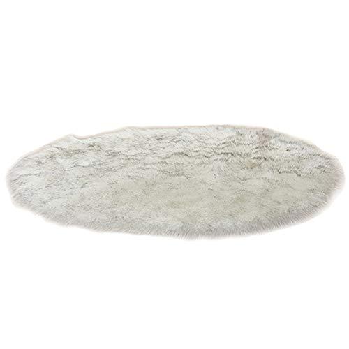 Tapis Ronde Faux Peau de Mouton en Laine Tapis Imitation Toison Moquette Fluffy Soft Longhair Décoratif Canapé Natte,Blanc Gris,Diamètre 70CM