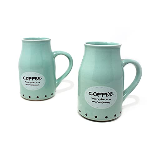 The Earth Store Sea Green Graphic/Quote Flask Mug Without Border Microwave Safe Ceramic Milk/Coffee/Tea Mug with Handle Ideal Best Gift to Friends, Anniversary, Valentine Day(Set of 2, 450ml)