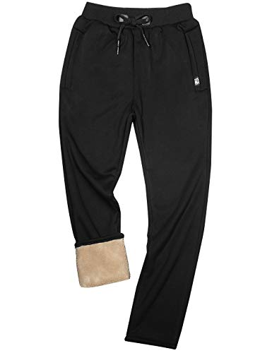 Yeokou Mens Winter Warm Sherpa Lined Active Thermal Jogger Fleece Sweatpants Pant (X-Large, Style12Black-Straight Leg)