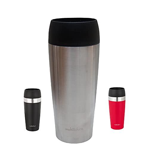 makitchen Thermobecher spülmaschinenfest 420ml | Kaffeebecher für Coffee to go 100{696a211b64859edbdc44da73390c4c885cad8adb7fb46212fd700525d9e139df} auslaufsicher | Edelstahl Trinkbecher mit Deckel | Isolierbecher doppelwandig Vakuum-isoliert (Silber)