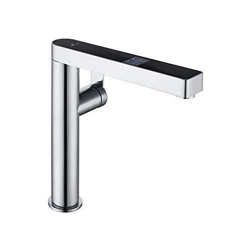 HOMELODY Messing Wasserhahn Küche mit LCD Temperatur-Anzeige Küchenarmatur Mischbatterie Armatur Spüle Chrom für Küchen