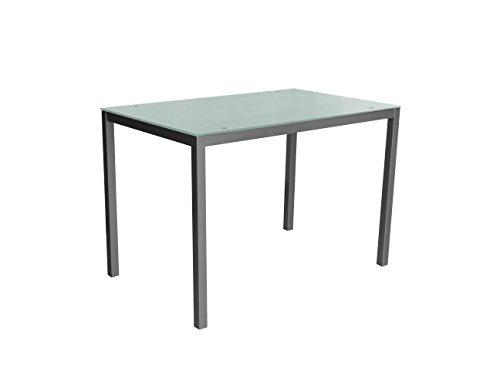 Mirror 110 blanca Mesa metálica y cristal blanco para comedor, cocina, balcón, terraza interior, habitación juvenil