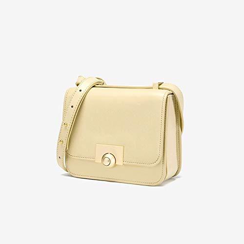 Damen Umhängetasche PU-Tofu-Tasche Süßigkeit-Farben-Oblique-Kreuz-Tasche Weibliche Tasche Slung Schulter 18.5x7.5x15cm Eine Umhängetasche (Farbe : Yellow, Size : 18.5x7.5x15cm)