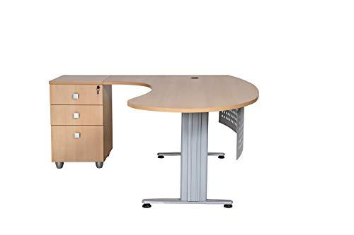 furni24 Schreibtisch Homeoffice Chefschreibtisch Schreibtisch Winkeltisch Gela Buche Links gewinkelt inkl. Beistellcontainer mit 3 Schubladen