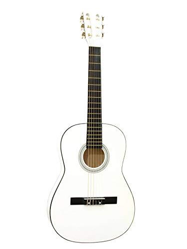 showking Kinder Konzertgitarre FIDEL, 3/4, weiß - Kindergitarre mit Tasche/Klassische Gitarre für Anfänger