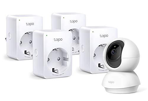 TP-Link Tapo C200 WLAN IP Kamera Überwachungskamera (Linsenschwenkung- und Neigung, 1080p-Auflösung, 2-Wege-Audio) Weiß + smarte WLAN Steckdose (4 pack) (Fernzugriff, Zeitpläne) weiß