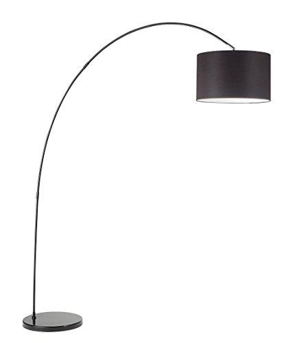 Vloerlamp model 6304N Perenz Deze vloerlamp is gemaakt met een frame van wit gelakt metaal en een zwarte kap van textiel.