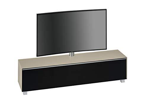 MAJA Möbel Soundboard, Glas Sand Matt-Akustikstoff Schwarz, 180,20 x 42,00 x 121,00 cm