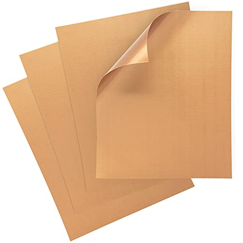 Placas de cobre para parrilla Kraftex (Paquete GRANDE de 4 unids). Placas de cobre con antiadherente para barbacoas, hornos y asadores. Placas para asar en parrillas de gas, de carbón o eléctricas.