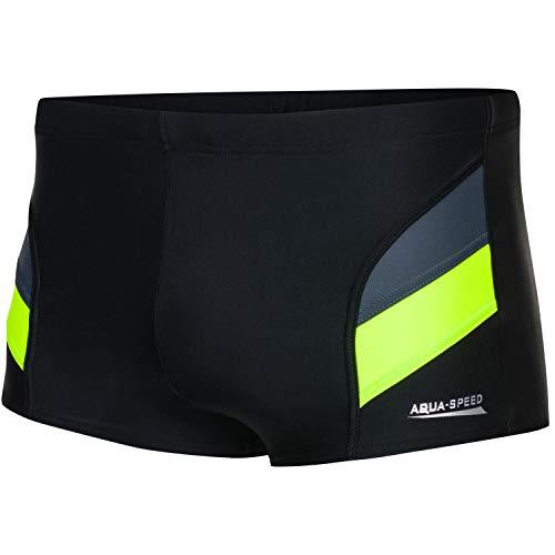Aqua Speed Herren Badehose + gratis eBook | Wettkampf Schwimmhose | Schwimmbekleidung Kastenbadehose | Aron, Gr. XL Schwarz Grau Fluoreszierend Gelb
