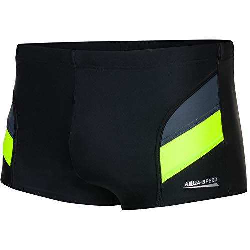 Aqua Speed Badehose Männer + gratis eBook | Schwimmhose Wasserball | Trainings Kastenbadehose | Aron, Gr. 4XL, Schwarz Grau Fluoreszierend Gelb