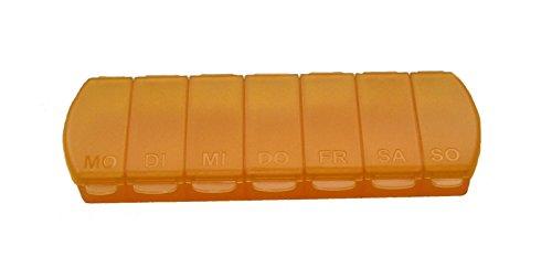 MAXBOX Pillendose für 7 Tage, Tablettendose, Pillenbox mit getrennten Fächern - orange
