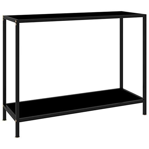 Consola, mesa de sofá estrecha con estante, mesa de entrada industrial para sala de estar, pasillo, vestíbulo, pasillo, oficina, mesa de entrada decorativa con aspecto de madera (Negro,100x35x75cm)
