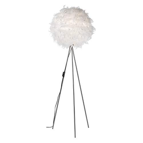 Stehleuchte mit Federn - Ø40CM, Weiß: Stehlampe mit Entenfeder [Energieklasse A+]