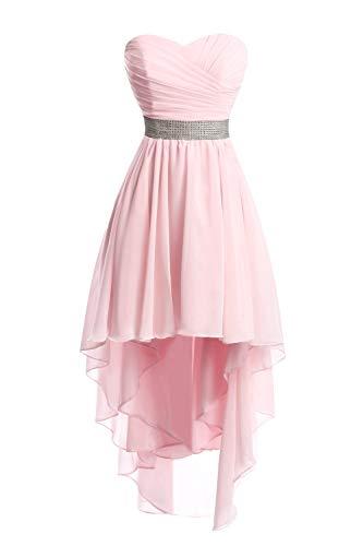 JAEDEN Ballkleider Damen Brautjungfernkleid Hochzeit Partykleid Herzausschnitt Abendkleid Vorne Kurz Hinten Lang Rosa EUR34