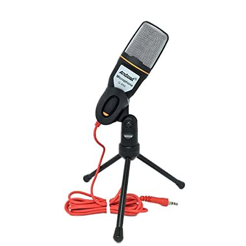 Microfone Condensador Para Gravaçao Profissional Com Tripe Para Notebook e PC Cor Preta (BSL-RADIO-2)