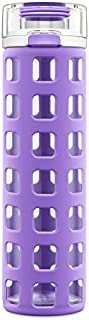 Ello Syndicate Glass Water Bottle with One-Touch Flip Lid, Purple