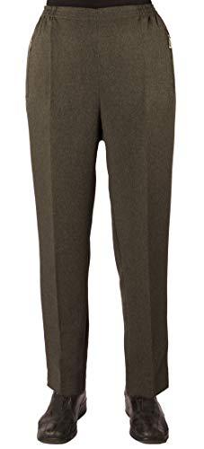 Eitex Damen Seniorenhose Schlupfhose mit Gummizug Kurzgröße ideal für pflegebedürftige Omas einfach anzuziehen und super pflegeleicht (42/44, olivgrün meliert)