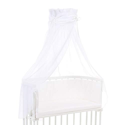 babybay Ciel de Lit en Coton Organique avec Nœud Convient pour Tous Modèles Blanc 1 Unité